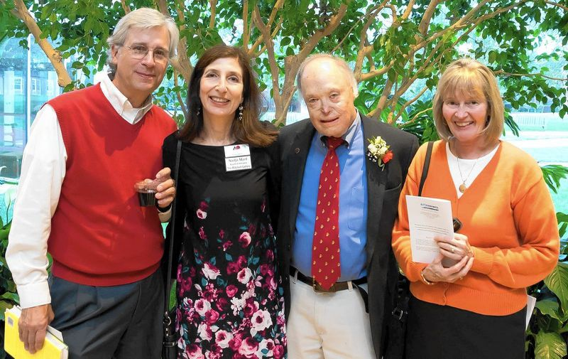 "From left, John Frece, Nadja Maril, the late journalist Robert ""Bob"" Timberg and Priscilla Cummings at a reception for the Annie Awards. Frece has built a life in retirement that involves writing, grandparenting and advocacy. (by Don Dement / HANDOUT)"