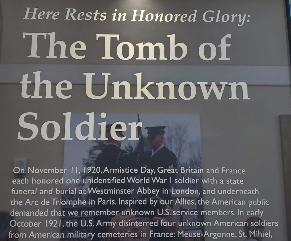 Description on the Tomb of the Unknown Soldier.