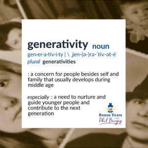"""Image of old photographs with a description of """"generativity""""– which includes the desire to nurture and guide younger people and thereby contribute to the next generation as defined by psychologist, Erik Erikson"""