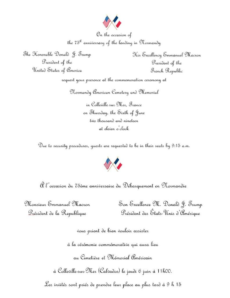 Invitation from US President Donald Trump and French President Emmanuel Macron to attend the 75th Anniversary of the allied landings at Normandy